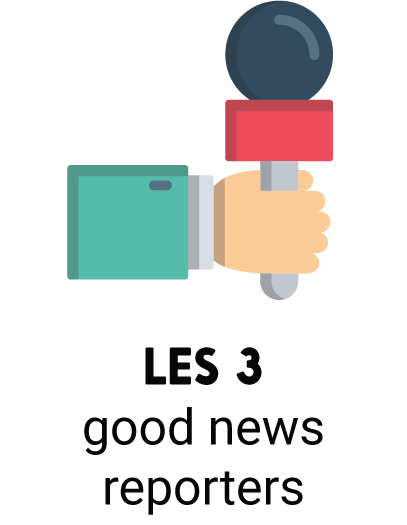 Move Your World Online, les 3 good news reporters, hand met microfoon